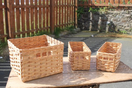 custom made baskets in stripped willow