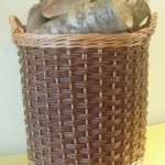 large round log basket made in uk
