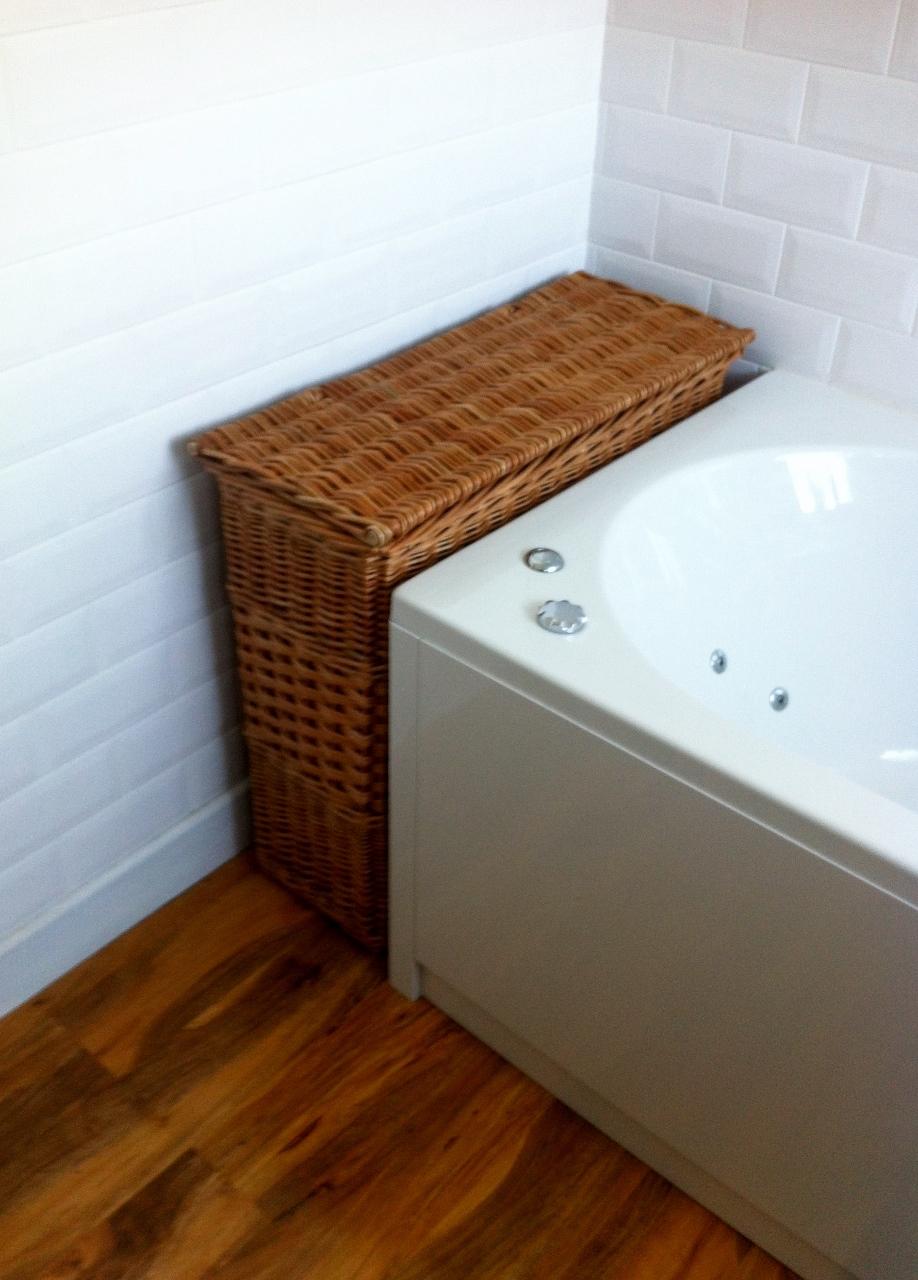 Narrow bathroom basket with lid wicker baskets - Narrow laundry hamper ...