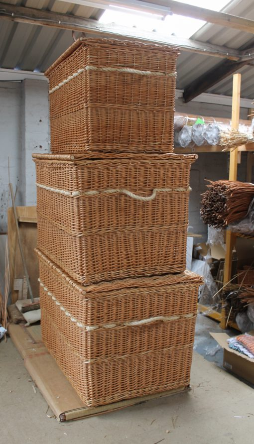 wicker hamper, rope handles, made in uk