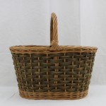 oval shopping basket in buff and green willow