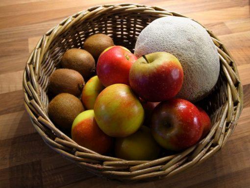 fruit basket in green willow made in uk