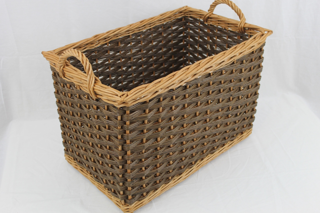 rectangular log basket wicker baskets. Black Bedroom Furniture Sets. Home Design Ideas