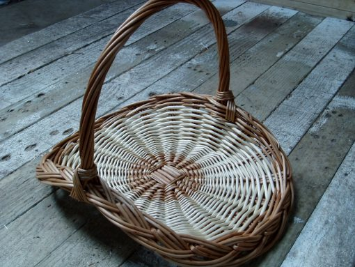 round wicker flower basket