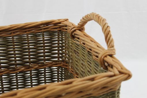 tapered square log basket made in uj