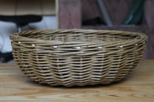 fruit basket in green willow made in uk