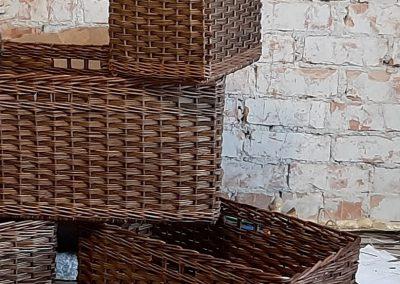 wicker baskets dark brown stain